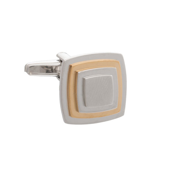 Multi-layered Square Cufflinks with Gold Plate by Elizabeth Parker