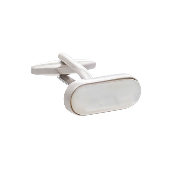 White Mother of Pearl Pilule Shaped Oval Cufflinks by Elizabeth Parker