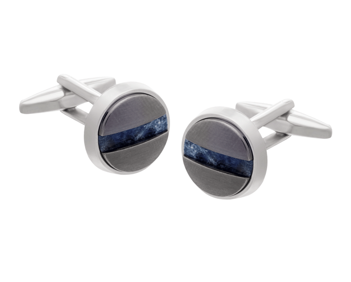 Slotted Screw Gunmetal Sodalite Cufflinks