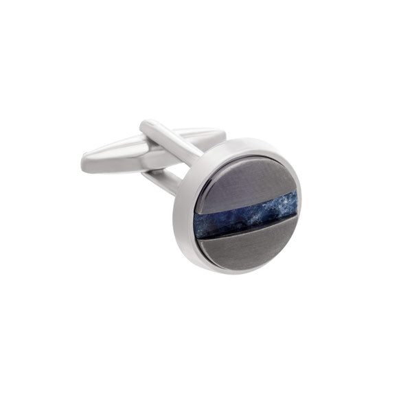 Slotted Screw Cufflinks in Gun Metal and Sodalite