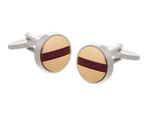 Slotted Screw Gold Plate Brown Goldstone Cufflinks