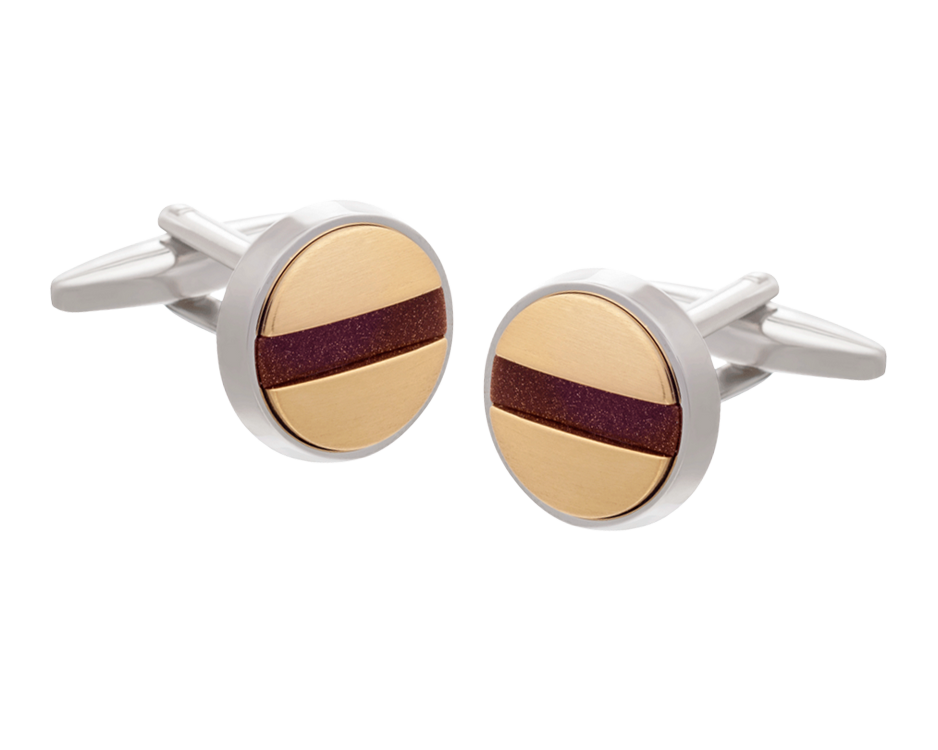 Slotted Screw Cufflinks - Gold Plate and Brown Goldstone