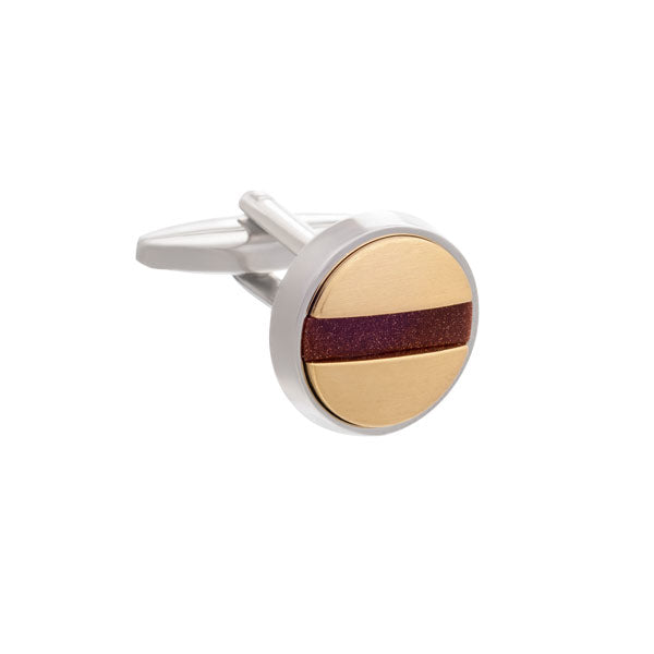 Slotted Screw Cufflinks in Gold Plate and Brown Goldstone by Elizabeth Parker