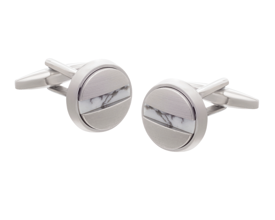 Slotted Screw Silver Plate Howlite Cufflinks