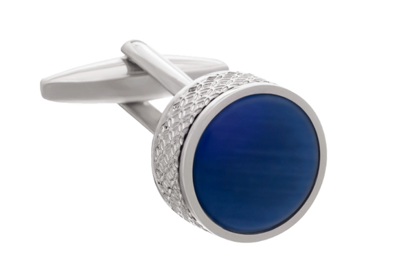 On The Edge Round Blue Cufflinks by Elizabeth Parker