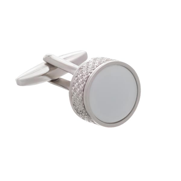 On The Edge Round White Cufflinks by Elizabeth Parker