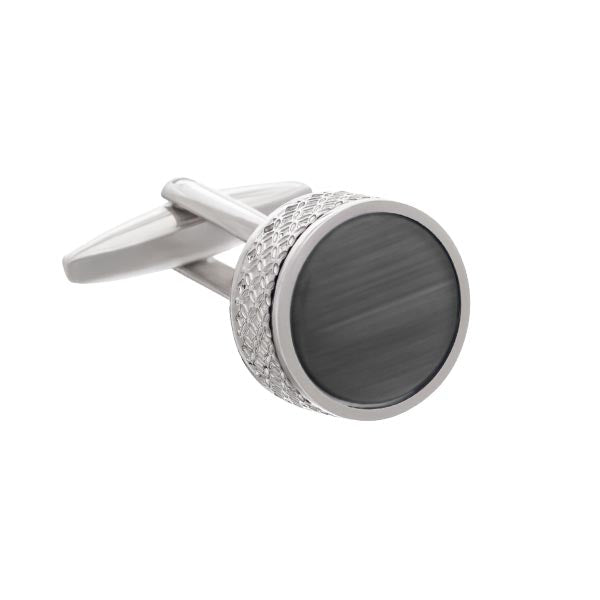 On The Edge Round Grey Cufflinks by Elizabeth Parker