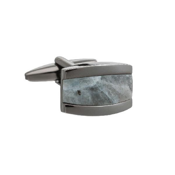 Gun Metal Colour My World Rectangular Cufflinks with Grey Jasper Centre by Elizabeth Parker
