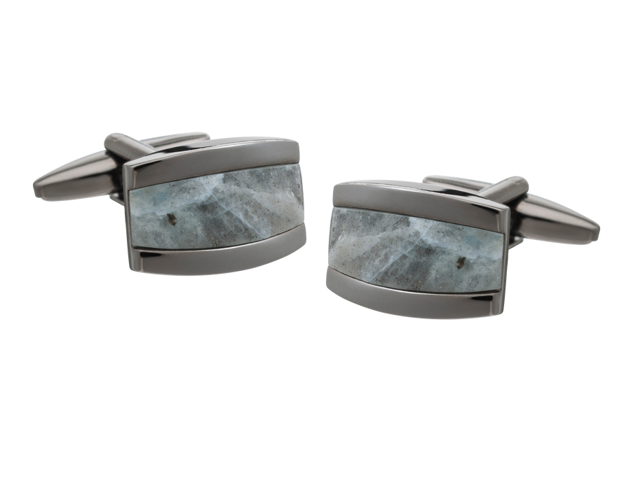 Colour My World Grey Jasper Gunmetal Cufflinks