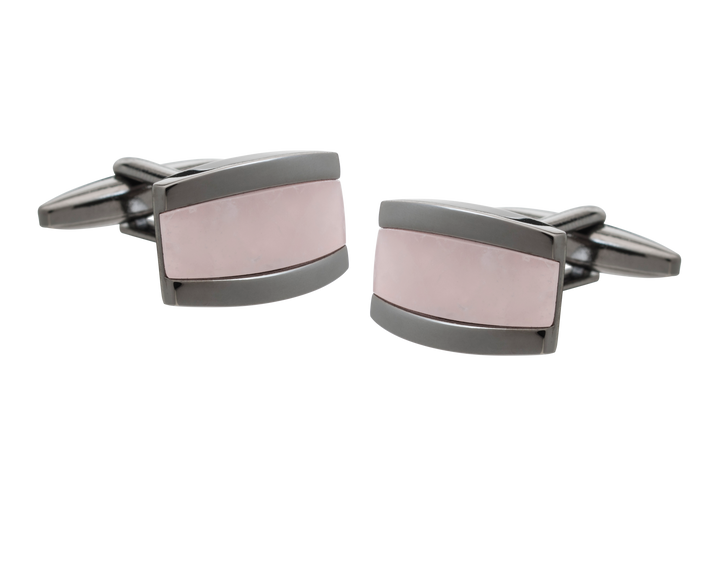 Colour My World Rose Quartz Gunmetal Cufflinks