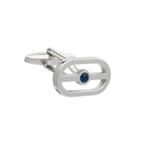 Elizabeth Parker Buckle Cufflinks with Blue Crystal