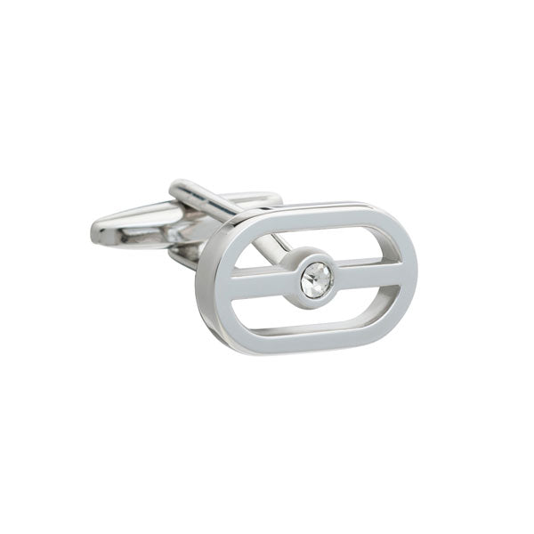 Elizabeth Parker Buckle Cufflinks with Clear Crystal