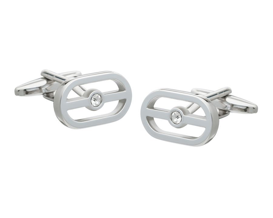 Buckle Clear Crystal Cufflinks