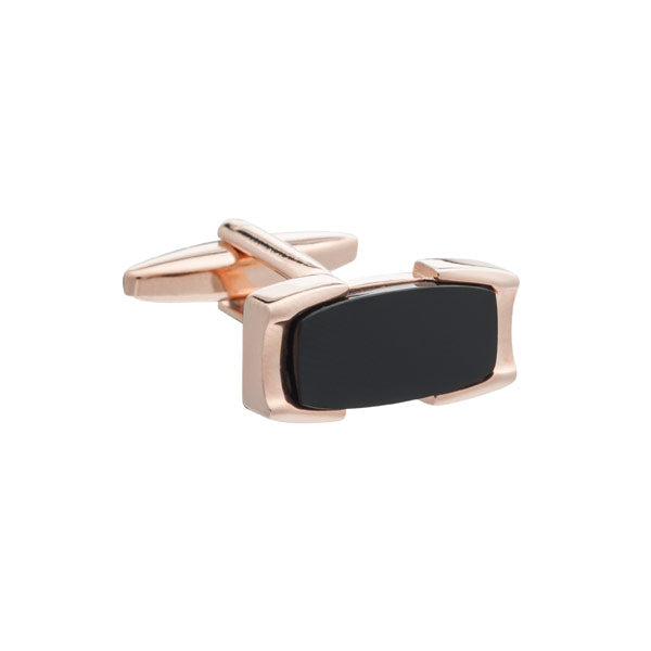 Rose Gold and Black Onyx Crowning Glory Rectangular Cufflinks By Elizabeth Parker