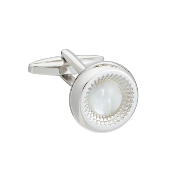 Elizabeth Parker Centre of Attention Round Mother of Pearl Cufflinks