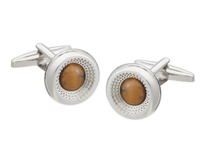 Centre Of Attention Tiger Eye Cufflinks