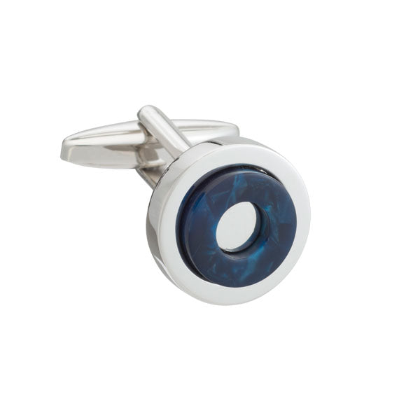 A Round in circles blue cufflinks by Elizabeth Parker
