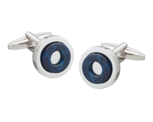 'Round in Circles' Blue Cufflinks