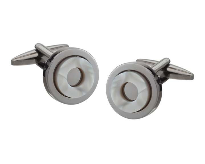 'Round in Circles' Gunmetal Cufflinks