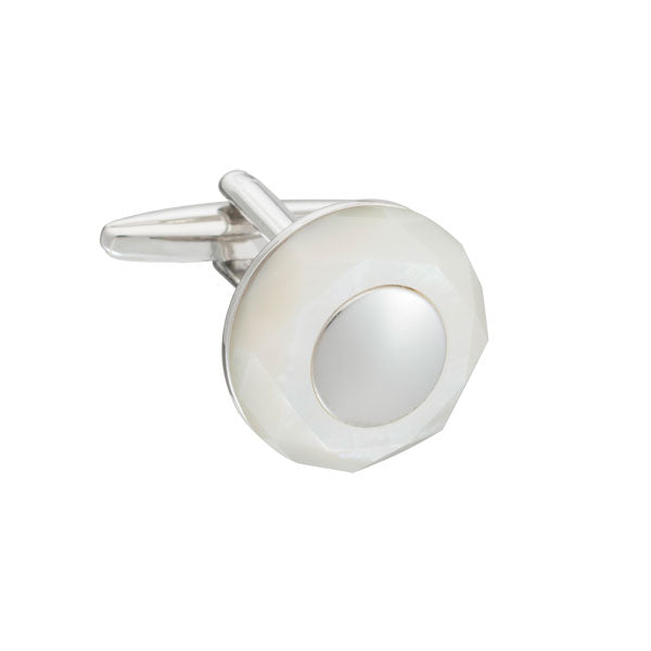 Elizabeth Parker Circle of Stone Mother of Pearl Round Cufflinks