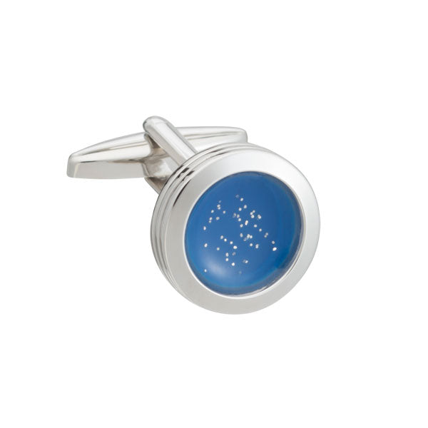 The World At Dawn Round Blue Cufflinks