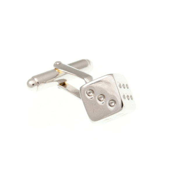 Dice Shaped Simply Metal Cufflinks by Elizabeth Parker
