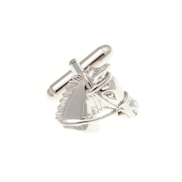 Shaped Horse Head Simply Metal Cufflinks by Elizabeth Parker England