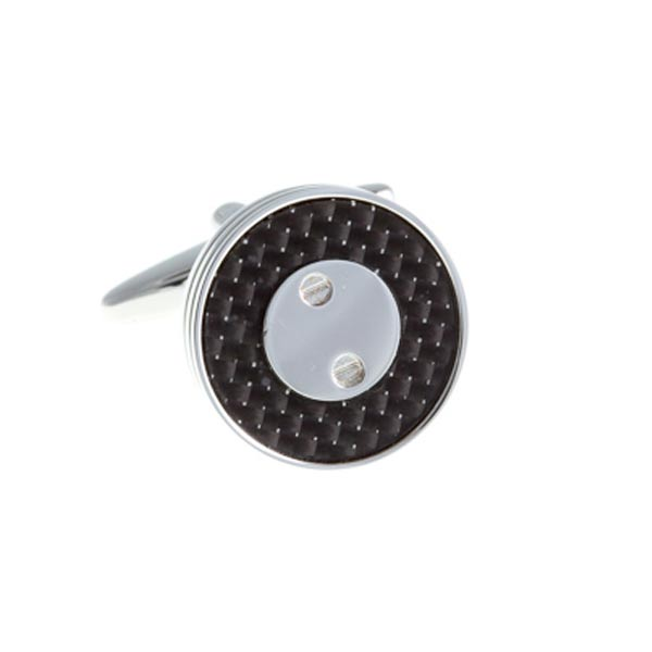 Screw Plated Round Black Carbon Fibre Cufflinks