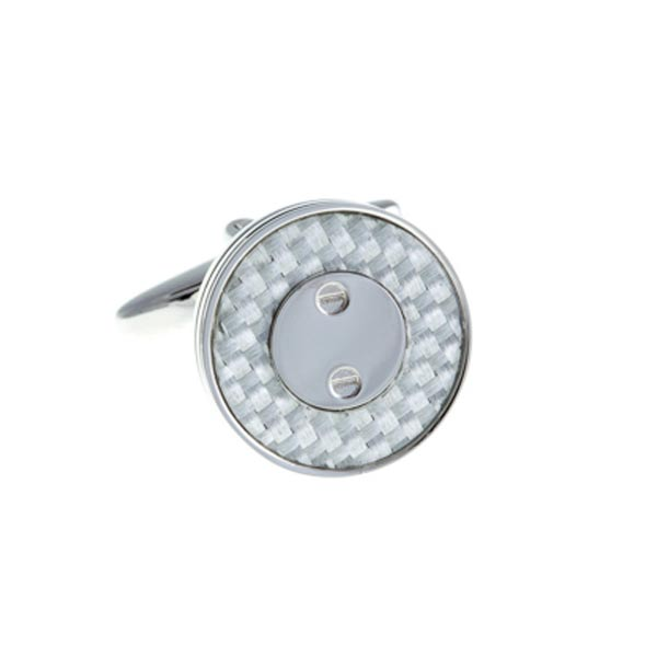 Round Screw Plated White Carbon Fibre Cufflinks by Elizabeth Parker