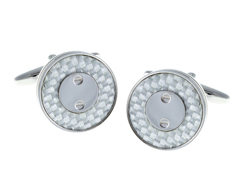 Screw Plated White Carbon Fibre Cufflinks