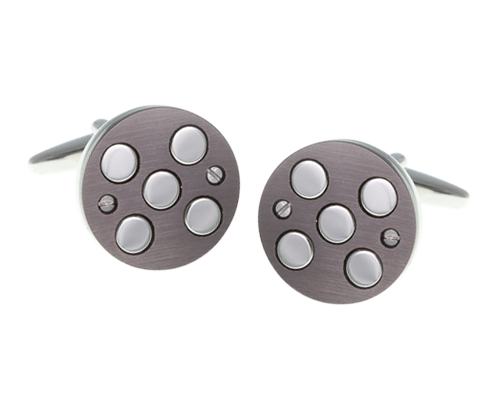 5 Circle Brushed Gun Metal Round Cufflinks