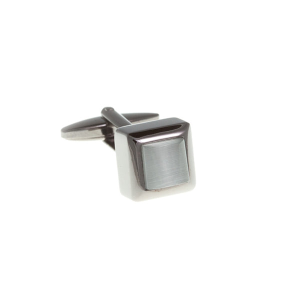 Cube Style White And Gun Metal Cufflinks by Elizabeth Parker England
