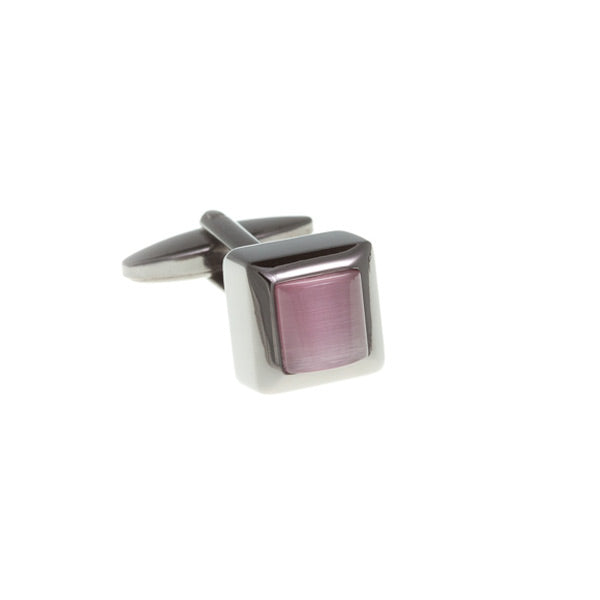 Cube Style Pink And Gun Metal Cufflinks by Elizabeth Parker