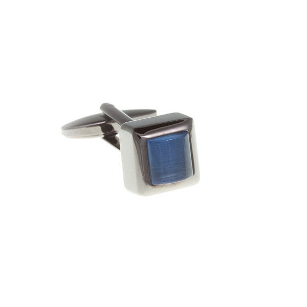 Cube Style Sky Blue and Gun Metal Cufflinks  by Elizabeth Parker