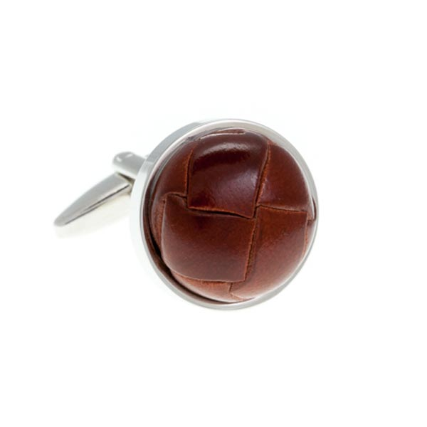 Brown Leather Vintage Button Cufflinks by Elizabeth Parker England