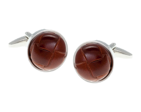 Brown Leather Vintage Button Cufflinks