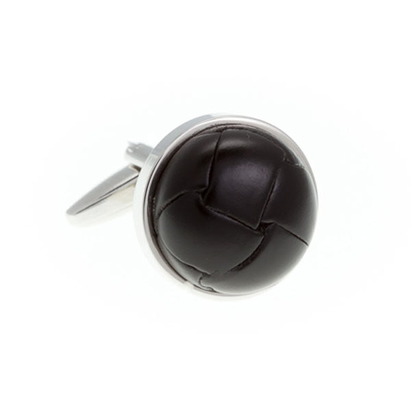 Matt Black Leather Vintage Button Cufflinks by Elizabeth Parker England