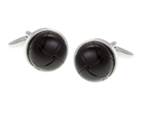 Matt Black Leather Vintage Button Cufflinks