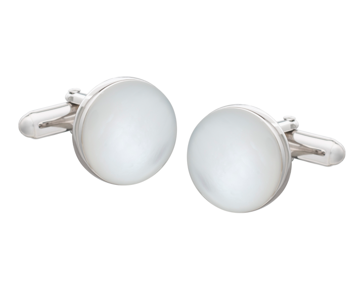 Solid Silver Mother of Pearl Full Moon Cufflinks