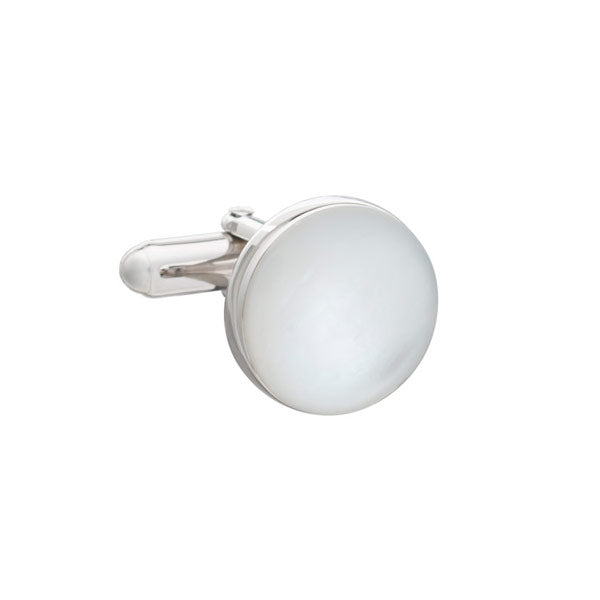 .925 Solid Silver Round Mother Of Pearl Full Moon Luxury Cufflinks By Elizabeth Parker