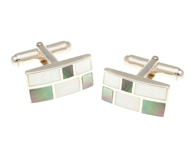 Solid Silver Oblong Mother Of Peal Brickwork Cufflinks