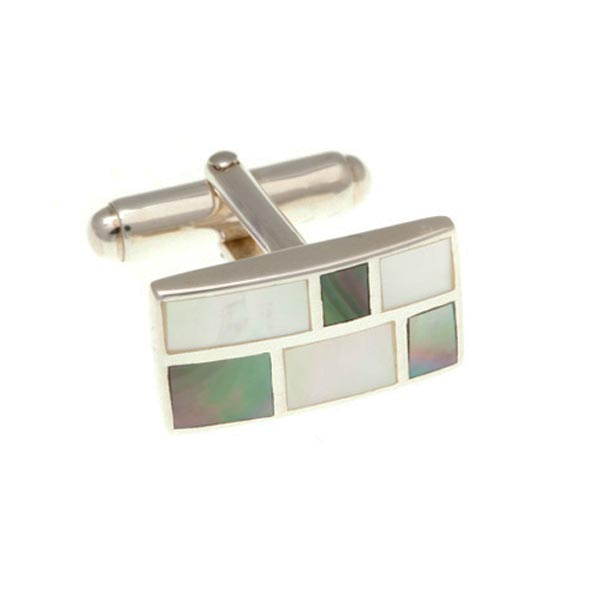 Oblong Brickwork Cufflinks in Mother of Pearl and .925 Solid Silver by Elizabeth Parker
