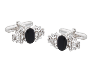 Fancy Solid Silver Onyx Cufflinks