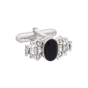 Fancy Black Onyx and .925 Solid Silver Luxury Cufflinks by Elizabeth Parker