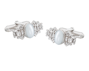 Fancy Solid Silver Mother of Pearl Cufflinks
