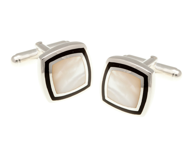 Solid Silver Onyx & Mother Of Pearl Picture Frame Cufflinks