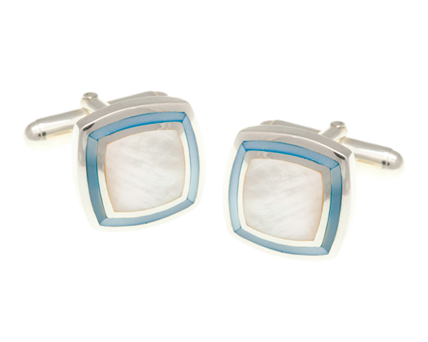 Solid Silver Blue White Mother of Pearl Picture Frame Cufflinks
