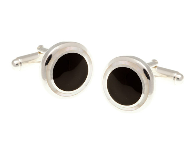 Solid Silver Onyx Mother of Pearl Cufflinks