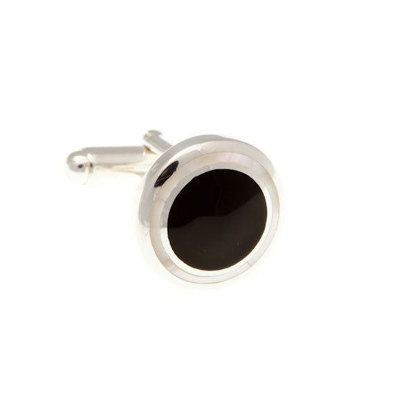 Round Black Onyx and Mother of Pearl .925 Solid Silver Cufflinks by Elizabeth Parker