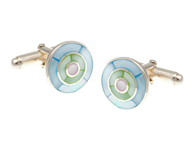 Solid Silver Blue Green Pink Mother Of Pearl Target Cufflinks